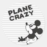 Mickey Plane Crazy 2 Classic Round Sticker