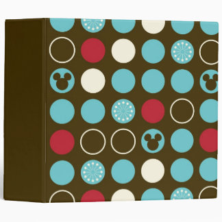 Mickey Retro Polka Dot Pattern 3 Ring Binder