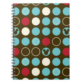 Mickey Retro Polka Dot Pattern Spiral Note Book
