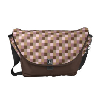Micro Check Pattern in Chocolate Brown and Pink Messenger Bag