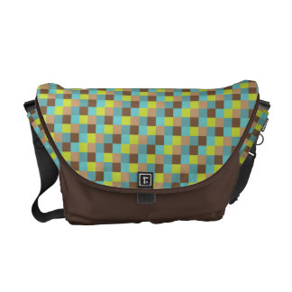 Micro Check Pattern Teal Lime Chocolate Brown Commuter Bags