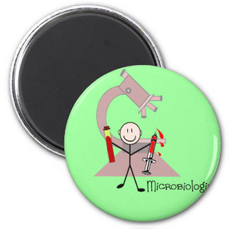 Microbiologist Stick person 2 Inch Round Magnet