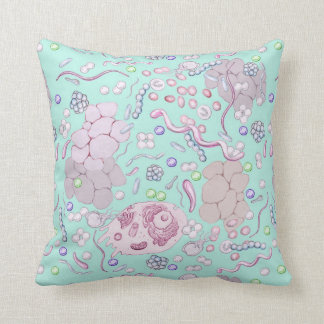 Microbiology Pattern in Blue Throw Pillow