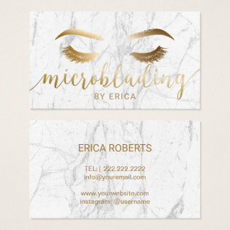 Microblading Brow Makeup Artist Gold Script Marble Business Card