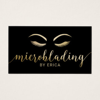 Microblading Brows Makeup Artist Black & Gold Business Card
