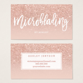 Microblading elegant typography blush rose gold business card