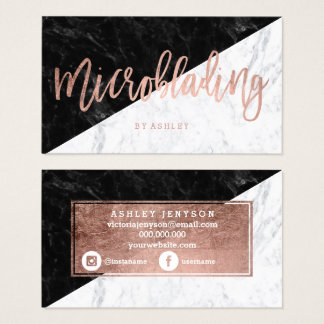 Microblading rose gold typography block marble business card