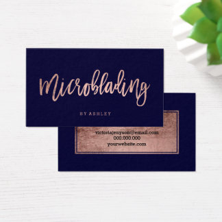 Microblading rose gold typography navy blue business card