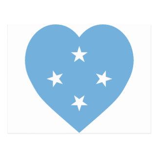 Micronesia Flag Heart Postcard