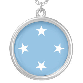 Micronesia Flag Silver Plated Necklace