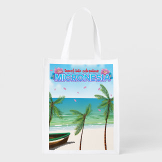 """Micronesia """"Travel into adventure"""" Grocery Bags"""