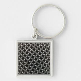 Microphone Close Up Silver-Colored Square Keychain