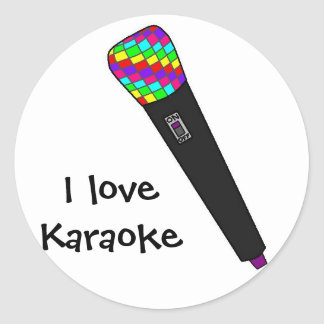 microphone disco classic round sticker