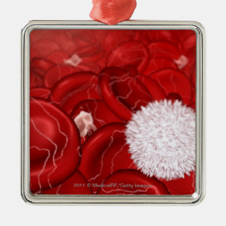Microscopic look at blood cells metal ornament