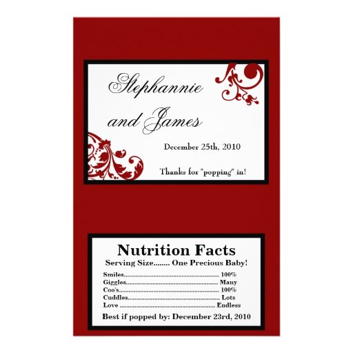 Microwave Popcorn Wrapper Red Floral Filigree Flyers | Zazzle