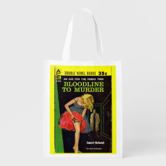 mid-1950s Bloodline to Murder pulp cover Reusable Grocery Bag