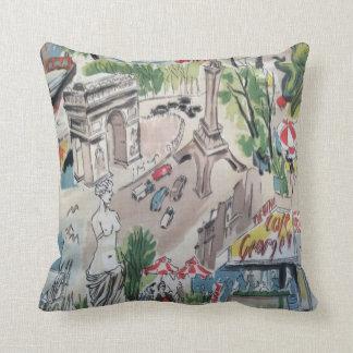Mid Century 1950's Parisian Print Throw Pillow