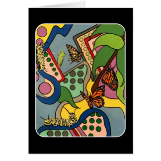 Mid-Century Abstract Butterfly Factory painting on Card