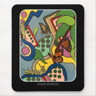 Mid-Century Abstract Butterfly Factory painting on Mouse Pad