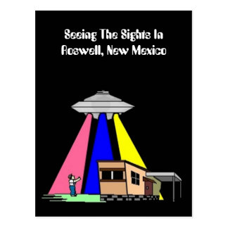 Mid-Century Alien UFO Sighting ROSWELL Postcard