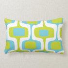 Mid-Century Aqua and Chartreuse Retro Pattern Lumbar Pillow