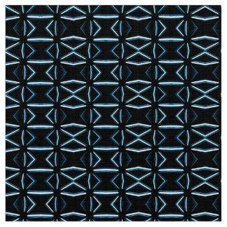 Mid Century Atomic Style Black and Blue Geometric Fabric