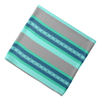 Mid-Century Awning Stripe, Turquoise and Gray Bandana