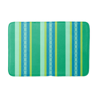 Mid-Century Awning Stripes, Jade Green Bath Mat