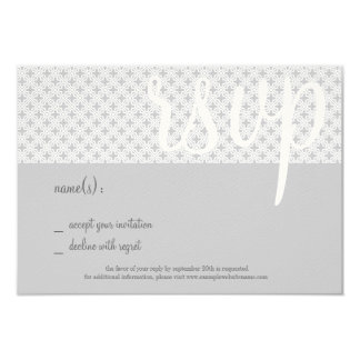 "Mid-Century Coordinating RSVP Card, Gray Lattice 3.5"" X 5"" Invitation Card"