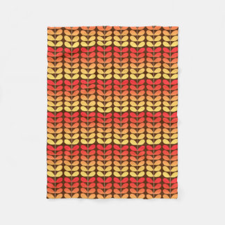 Mid Century Danish Leaves, Brown, Orange & Gold Fleece Blanket