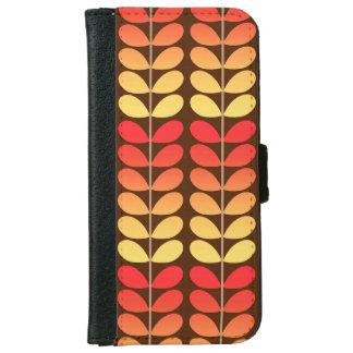 Mid Century Danish Leaves, Brown, Orange & Gold iPhone 6 Wallet Case