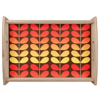 Mid Century Danish Leaves, Brown, Orange & Gold Serving Tray