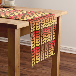 Mid Century Danish Leaves, Brown, Orange & Gold Short Table Runner