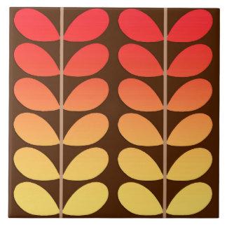 Mid Century Danish Leaves, Brown, Orange & Gold Tile
