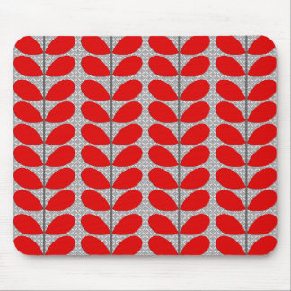 Mid Century Danish Leaves, Deep Red & Gray / Grey Mouse Pad