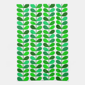 Mid Century Danish Leaves, Emerald and Lime Green Kitchen Towel