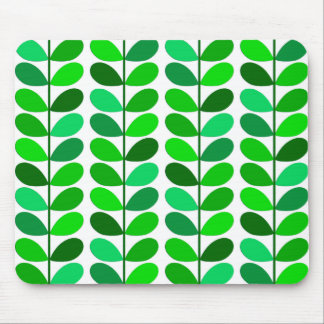 Mid Century Danish Leaves, Emerald and Lime Green Mouse Pad