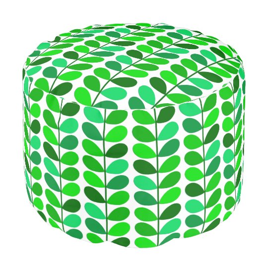 Mid Century Danish Leaves, Emerald and Lime Green Pouf