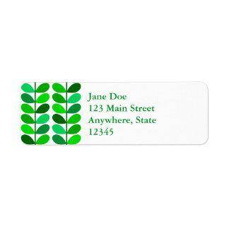 Mid Century Danish Leaves, Emerald and Lime Green Return Address Label