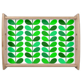Mid Century Danish Leaves, Emerald and Lime Green Serving Tray