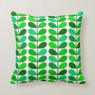 Mid Century Danish Leaves, Emerald and Lime Green Throw Pillow