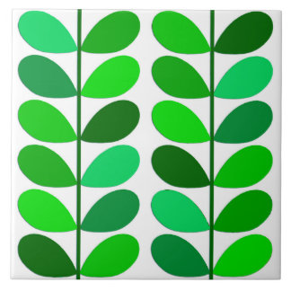 Mid Century Danish Leaves, Emerald and Lime Green Tile