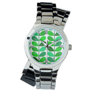 Mid Century Danish Leaves, Emerald and Lime Green Watch