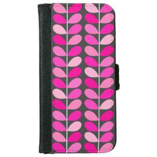 Mid Century Danish Leaves, Fuchsia Pink and Gray iPhone 6 Wallet Case