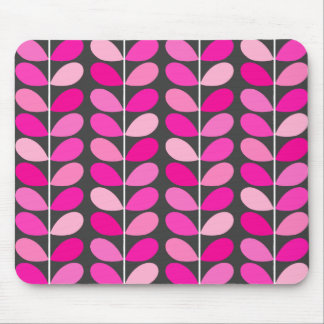 Mid Century Danish Leaves, Fuchsia Pink and Gray Mouse Pad