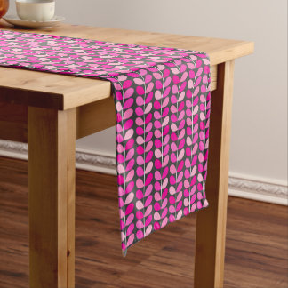 Mid Century Danish Leaves, Fuchsia Pink and Gray Short Table Runner