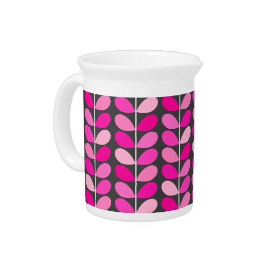 Mid Century Danish Leaves, Fuchsia Pink and Grey Drink Pitchers