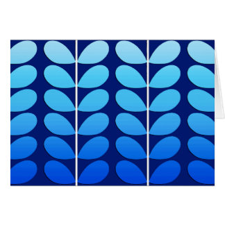 Mid Century Danish Leaves, Navy and Cobalt Blue Card