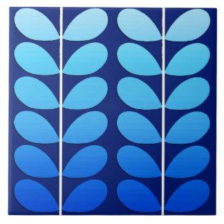 Mid Century Danish Leaves, Navy and Cobalt Blue Ceramic Tile