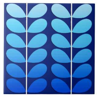 Mid Century Danish Leaves, Navy and Cobalt Blue Tile